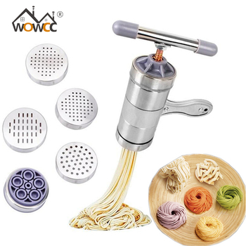 Stainless Steel Manual Pasta Machine Noodle Maker With 5 Pressing Mould Pasta Spaghetti Press Machine Household Pressing Machine