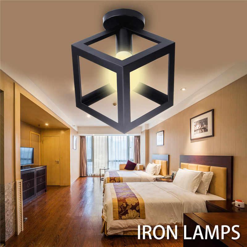 E27 Modern Black Bird Cage Shape Ceiling Light Round Panel Night Lamp Living Room Hallway Coffee Shop Home Decor Indoor Lighting