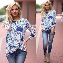 Womail 2017 New Arrival Womens Casual Long Sleeve Retro Floral Print Knot Blouses Tops and Shirts Print sep22
