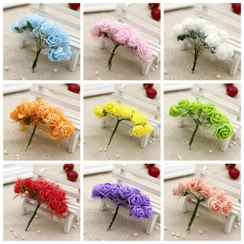 cheap 12pcs/lot 2.5CM head Multicolor PE Rose Foam Mini artificial silk Flowers Bouquet Solid Color/wedding decoration