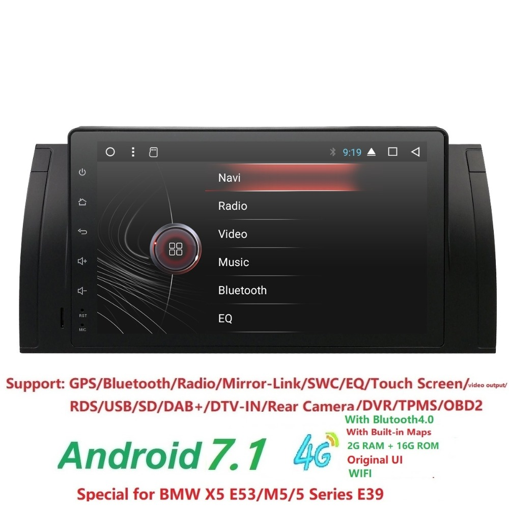 9 inch 1024x600 HD Touch Screen 1 din Android 7.1 Car Multimedia Radio Stereo for BMW E39 E53 X5 Wifi 3G Bluetooth DVR RDS USB