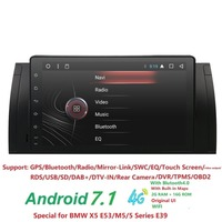 9 дюймов 1024x600 HD Сенсорный экран 1 din Android 7,1 Автомобильный мультимедийный Радио стерео для BMW E39 E53 X5 Wi Fi 3g Bluetooth DVR RDS USB