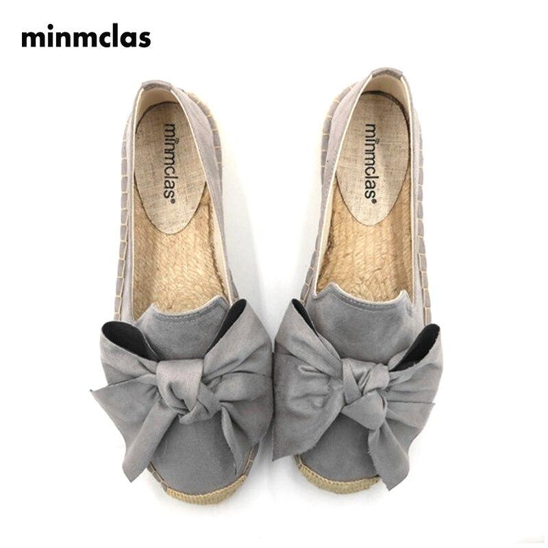 Minmclas Women's Espadrille Bow Shoe Comfortable Slippers Ladies Cashmere Casual Shoes Breathable Flax Hemp Canvas Blue Big Size