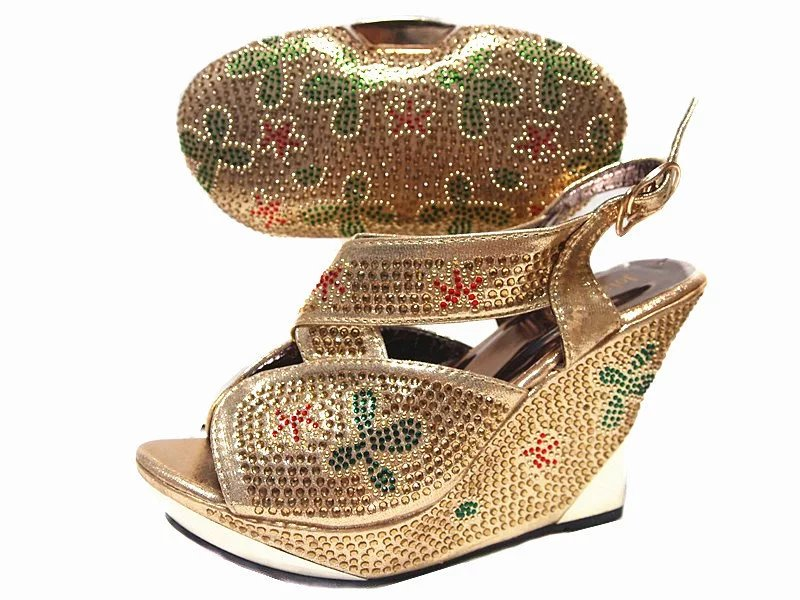 (JA114)Gold Italian Shoes With Matching Bag,Classic Style Italy Shoe And Bag set For Sexy Ladies and party Free Shipping