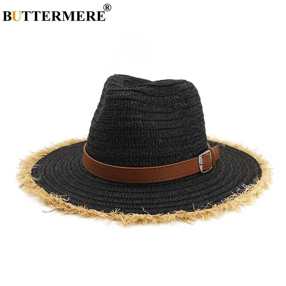 BUTTERMERE женская соломенная сумка пляжные шляпы белые солнечные шляпы для женщин с поясом Регулируемая широкая шляпа модная женская летняя УФ джаз шляпа