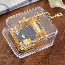 2019 New Exquisite Clear Acrylic Square Gold Hand Cranked Gurdy 18 Note Music Box Play Castle in the Sky Home decor gift ottokar schupp hurdy gurdy