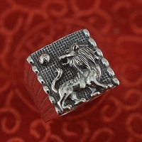 999 sterling silver ring, male lion domineering restoring ancient ways ring 999 fine silver ring personality transfer
