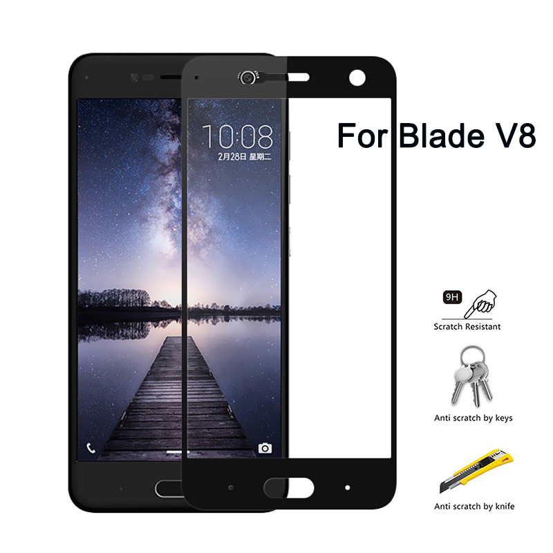 Protective Glass On For ZTE Blade V8 BV0800 Full Cover Screen Protector Tempered Glass On For ZTE Blade V8 V0800 5.2 Inch V 8 9H