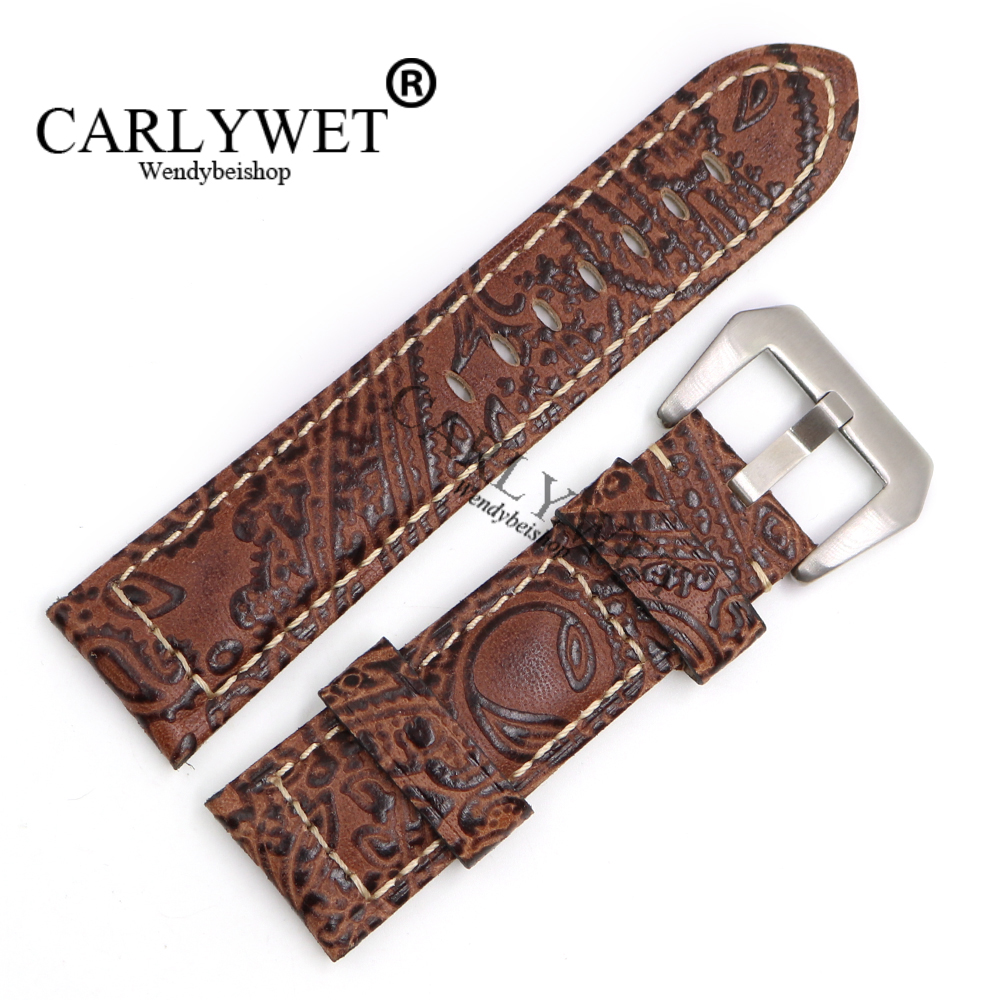 CARLYWET 22 24 26mm Light brown Pattern Real Leather Wrist Watch Band Strap Bracelet With Silver Brushed Pre V Screw Buckle brushed cotton twill ivy hat flat cap by decky brown