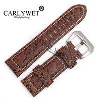 CARLYWET 22 24 26mm marrón Claro Patrón de Pulsera de Cuero Real Correa de Reloj de Pulsera Con Plata Cepilló la Pre V Tornillo hebilla