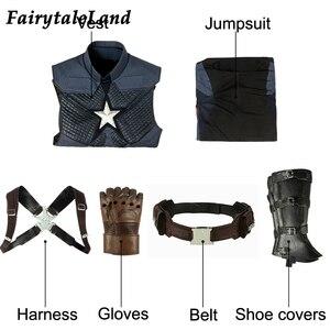 Image 4 - Avengers Endgame Captain America Cosplay costume full set Outfit Captain America Steve Rogers Jumpsuit customized 5 star Vest
