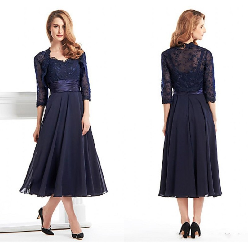 Navy Blue Chiffon Mother Of The Bride Dresses With Lace