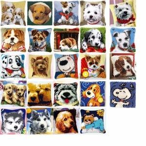 Image 1 - Kit crochet de coussin damour chiens, broderie de fleurs artisanales, point de croix, 42CM, 42CM