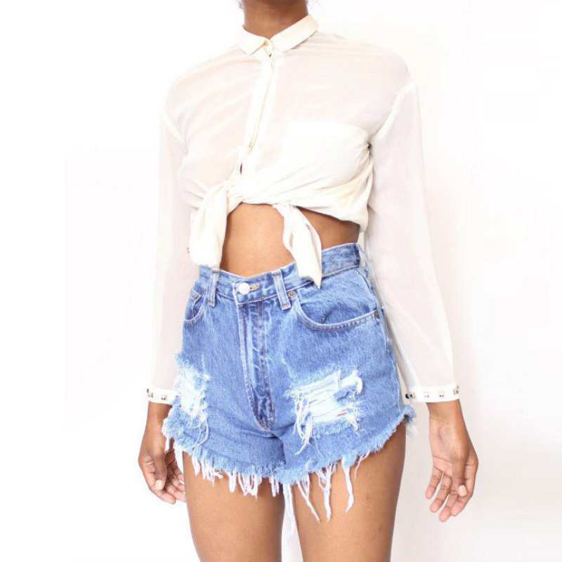 2018 New Summer Sexy Irregular Women's Fashion Denim High Waist Shorts Slim Fit Denim Jeans Tassel Shorts new