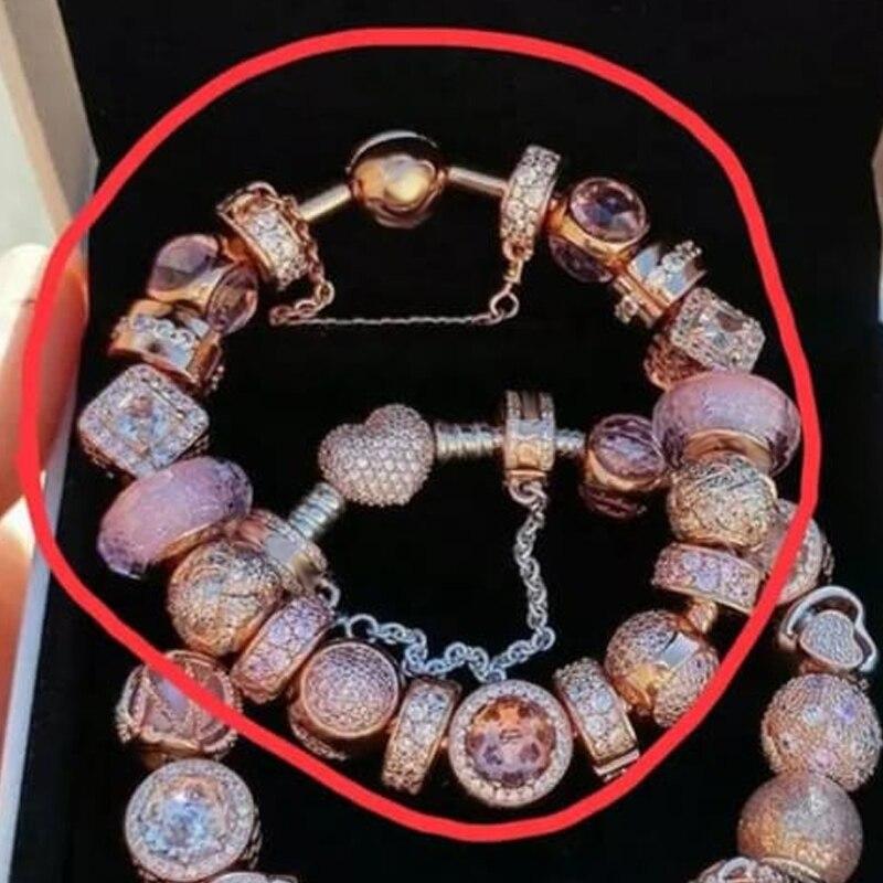 D'origine 100% 925 Argent Charme qualité supérieure Solins Rose perles en or Femmes Charme Copie Bijoux Pour Femmes 1:1 Avec Logo Bracelet