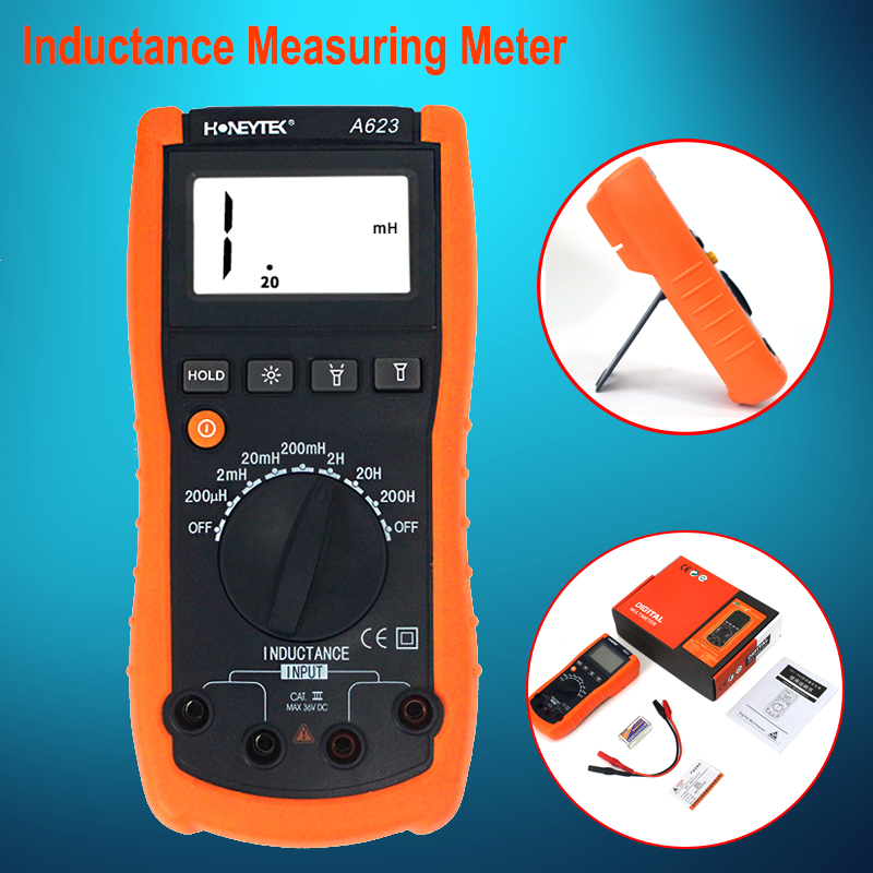 A623 Inductance Meter Digital Multimeter Test Inductance Tester Hold Peak Electrical Instruments with led light high precision digital capacitance inductance meter auto ranging component tester 500kh lc rc oscillation inductance multimeter