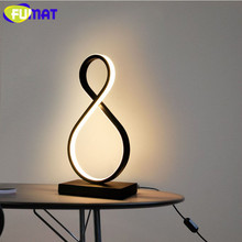 FUMAT Modern Table Lamp LED Nordic Bedroom Bedside lamps Home Deco Art luminaria Lights Heart Curve Wood Children Read Light