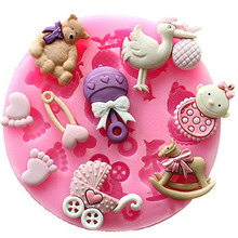 1pc New cooking Decorating Modle 3D Pink Baby Shower Party Silicone Fondant Mold Cake tools kitchen supplies
