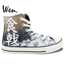 Wen Custom Comic Shokugeki no Soma Yukihira Souma Hand Painted Canvas Athletic Shoes High Top Unisex Outdoor Sneakers