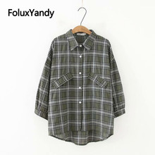 Vintage Blouses Plaid Long Sleeve Shirts Femme Chemise Plus Size XXXL Loose Women Blouse KKFY3105