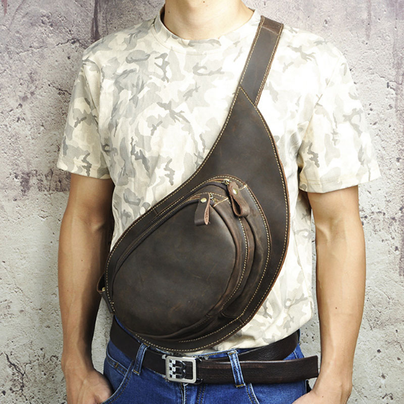 Men Crazy Horse Cowhide Sling Chest Back Pack Shoulder Messenger Bag Genuine Leather Vintage trend Men Cross Body Chest Bags