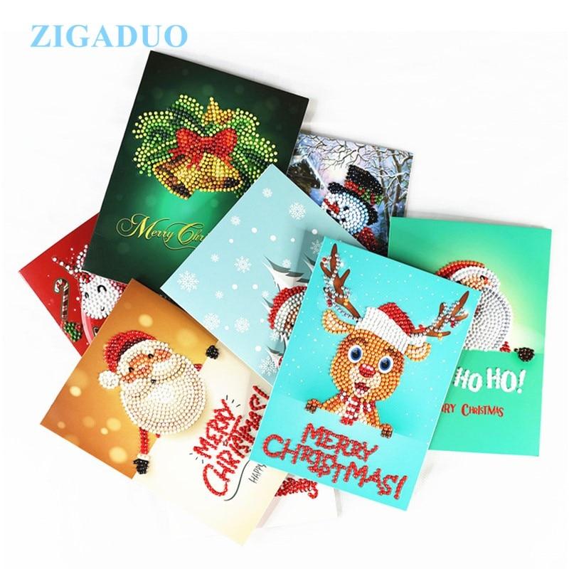 Christmas Cards 5D Diy Diamond Painting Cute Cartoon Small Santa ...