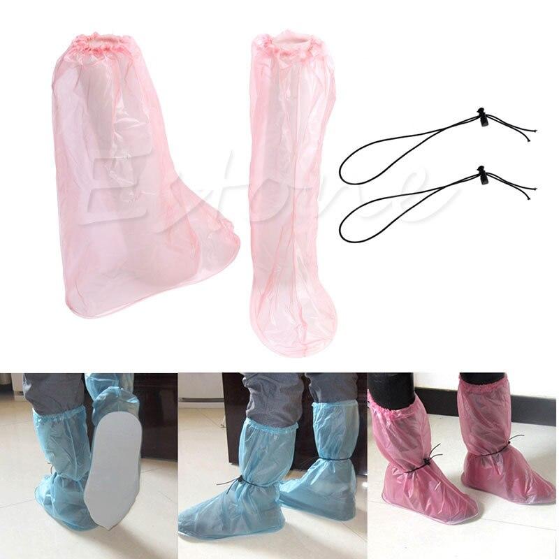купить THINKTHENDO1Pair PVC Waterproof Shoe Covers Reusable Anti-slip Rain Boot Bike Overshoe New недорого