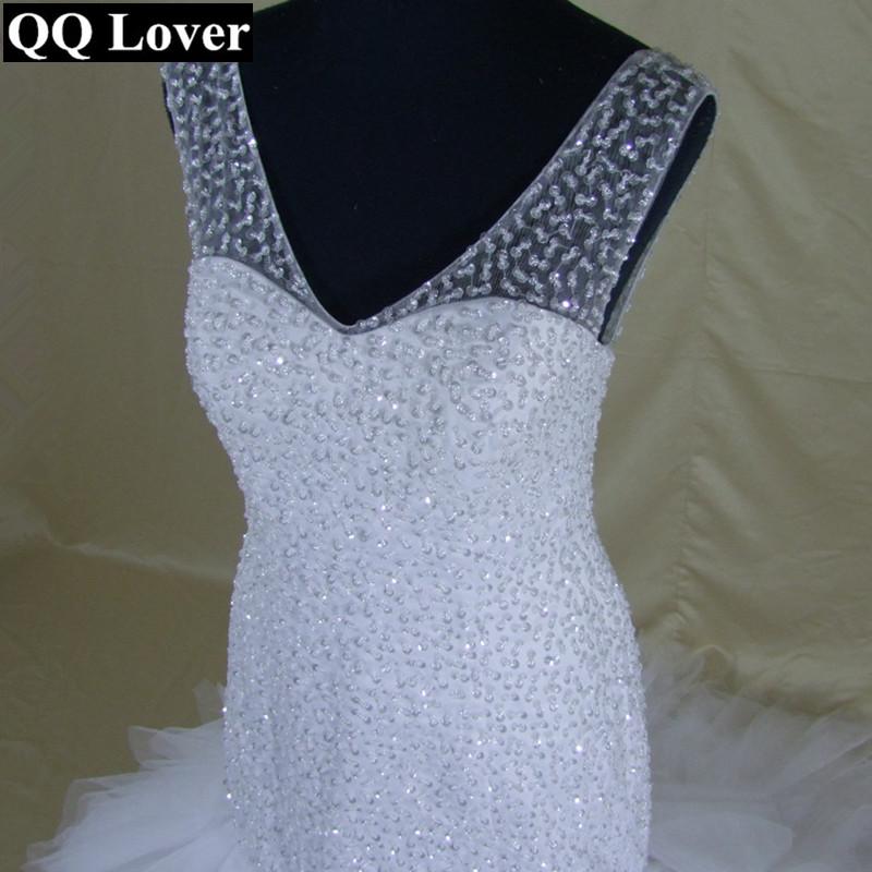 931824365129 Qq Lover Arabic Style Wedding Dress 2018 Deep V Neck Beading Layer ...