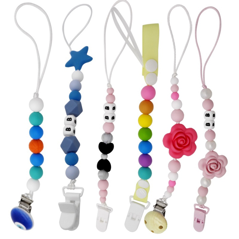 Baby Pacifier Chain Silicone Teething Pacifier Clips Safe ABS Beads Silicone Holder Nipp ...