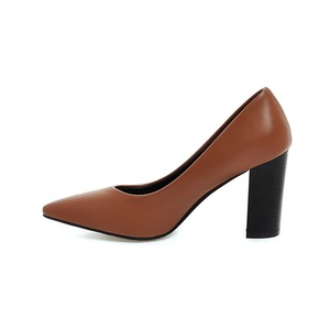 Image 5 - Hot Sale Brand New Glamour Beige Brown Women Dress Pumps Black Square Heels Lady Casual Shoes AC357 Plus Big Size 4 10 33 43