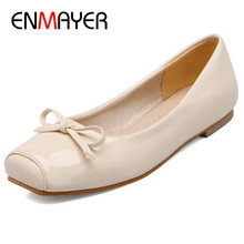 ENMAYER Patent Leather Shoes Woman Bowties Large Size 34-47 Flats Office Ladies Loafers Slip-on Black Red Beige