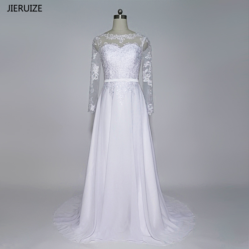Wedding Dresses Wedding Gown Sheer Long Sleeves White: Aliexpress.com : Buy JIERUIZE White Vintage Lace Appliques
