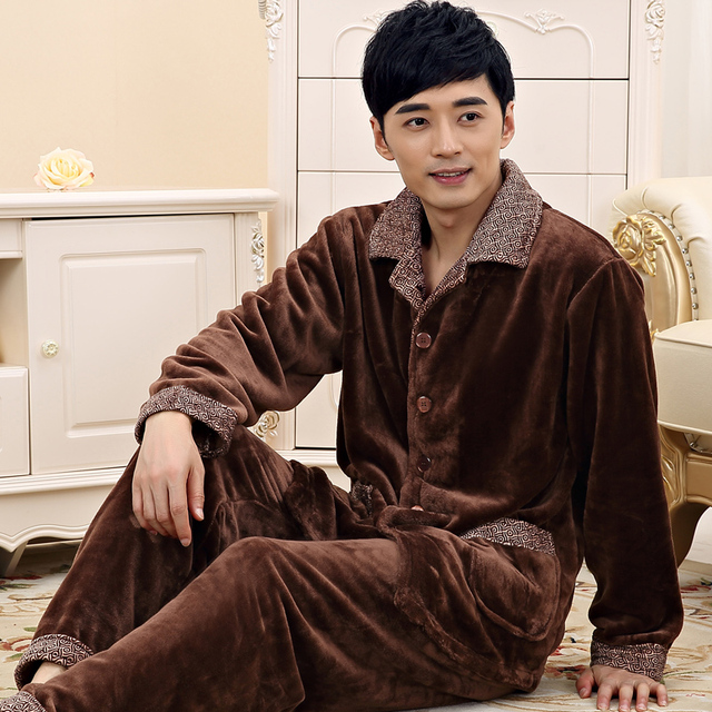 8a996b4323 Pajamas for men winter Long sleeve Thickening Flannel sleepwear coral  fleece nightshirt lounge plus size Pajama