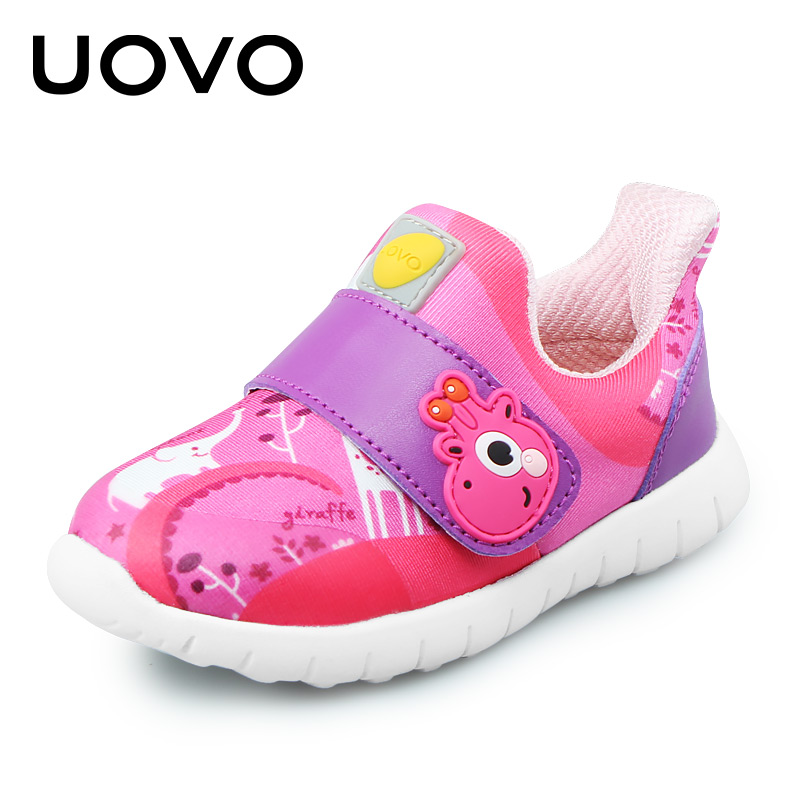 UOVO Baby Casual Shoes Girls Boys Toddler Shoes Breathable Sports Casual Sneakers Fashion Hook & Fabric For Children Size 22-30 children s shoes boys and girls ultralight casual sports shoes children fashion sneakers mesh fabric breathable travel shoes