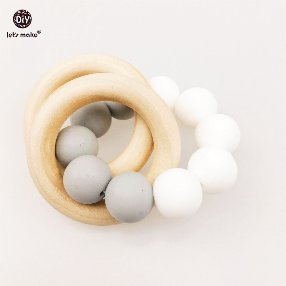 Let's make Baby Teether 2pcs Play Gym Wooden Ring Silicone Beads Bracelets  Kids Wooden Toys Pram Chain Food Grade silicone
