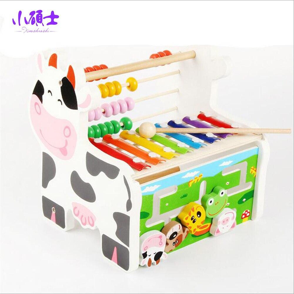 Cadre de calcul en bois multifonctionnel de labyrinthe Abacus enfants enfants se penchant éducation Intelligence jouets musicaux cadeau