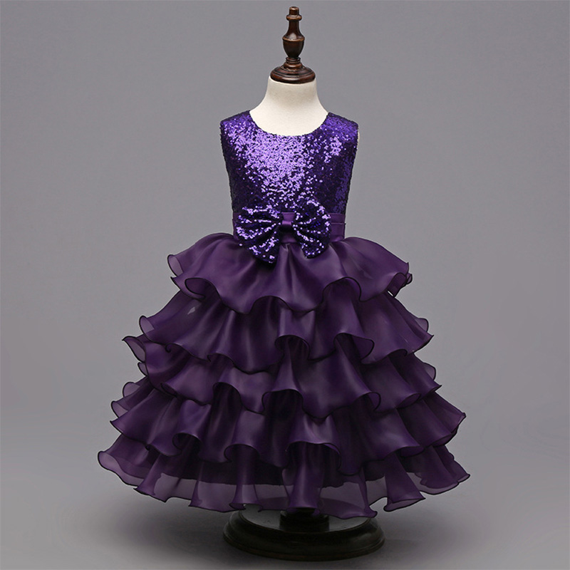 latest children dress designs Sequined bow cake classic clothes Girl kids Children Dress