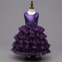 latest children dress designs Sequined bow cake classic clothes Girl kids Children Dress