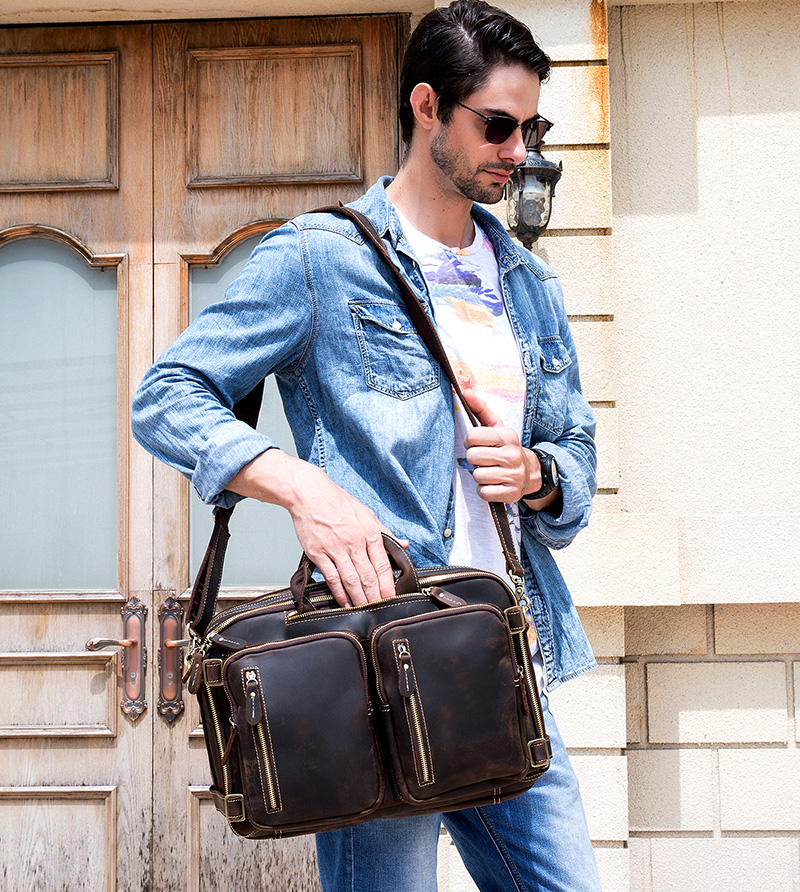 Maheu alta qualidade mochila de couro duplo zíper mochilas breve caso viagem escritório dupla utilização sacos ombro couro puro - 6