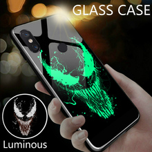 Marvel Venom Iron Man Luminous Glass Phone Case For Xiaomi Mi 8 9 SE Lite Redmi Note 4X 5 6 7 Pro Plus Black Panther Cover Coque