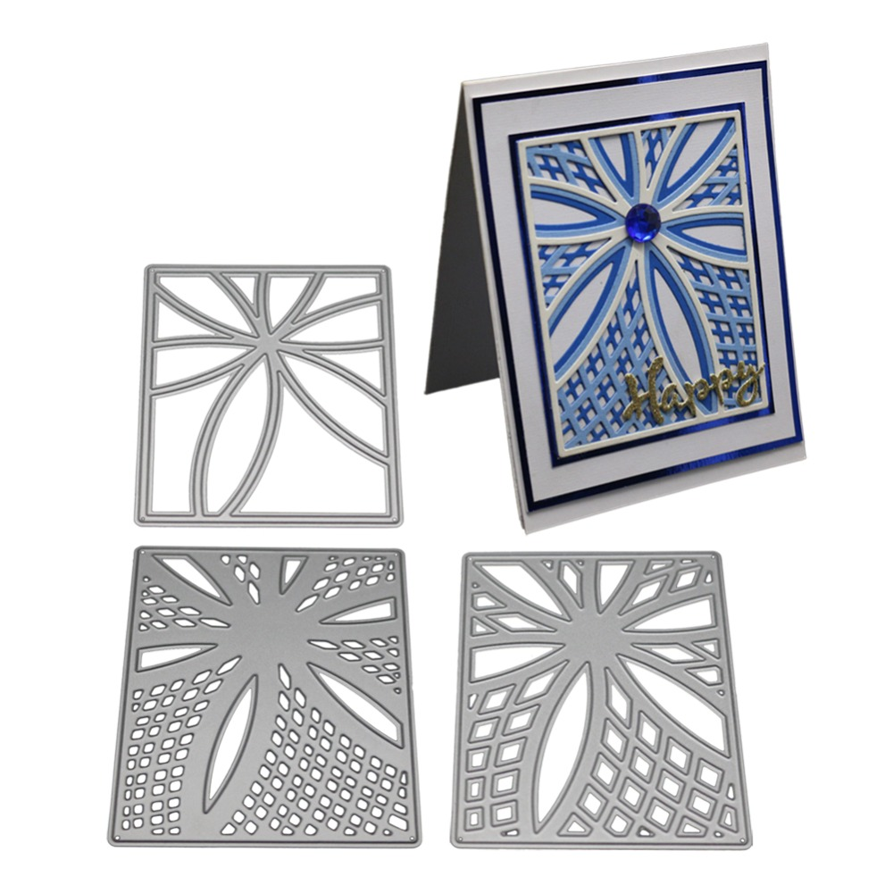 3 Pcs Cutting Dies Rectangle Frames Metal Stencil Stamps