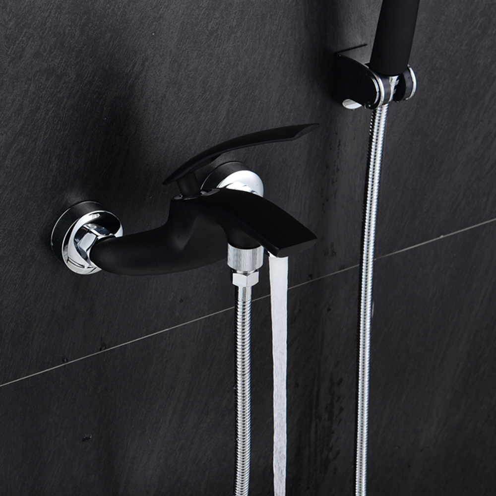 BAKALA Brass Bath Black Faucets Wall Mounted Bathroom Basin Mixer ...