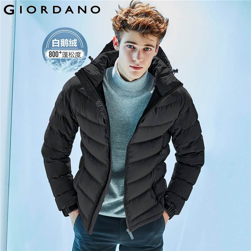 Giordano Men Down Jacket Men 90% Content White Goose Down Detachable Down Jacket Men Quality Warm Hood Zip Windproof Coat Winter