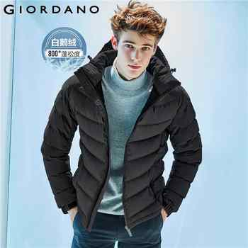 Giordano Men Down Jacket Men 90% Content White Goose Down Detachable Down Jacket Men Quality Warm Hood Zip Windproof Coat Winter - DISCOUNT ITEM  63% OFF All Category