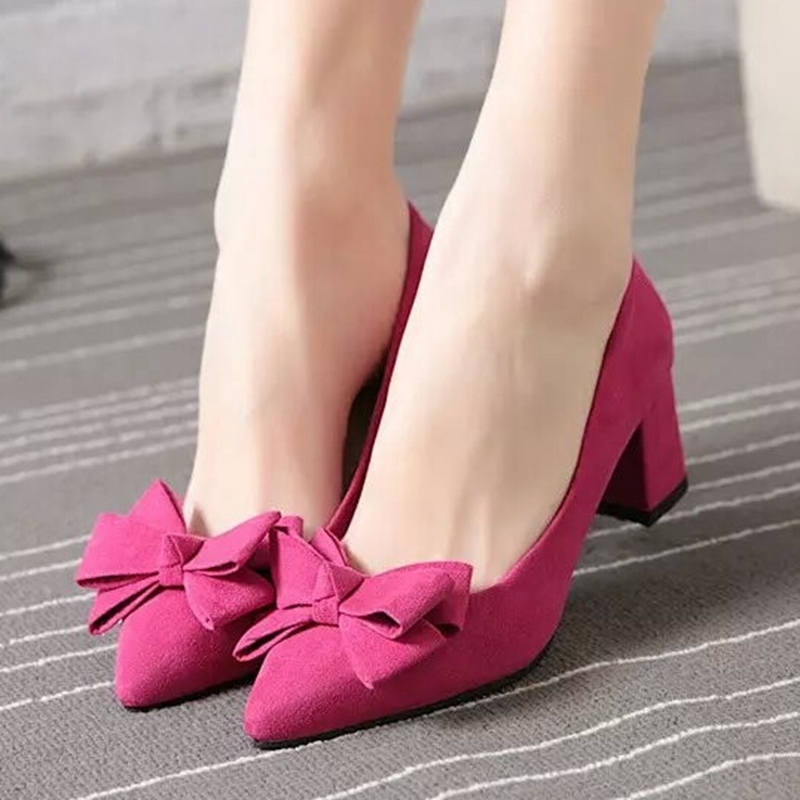 Shallow mouth thick heel high-heeled shoes single shoes black work shoes pointed toe women's shoes red bridesmaid bride wedding