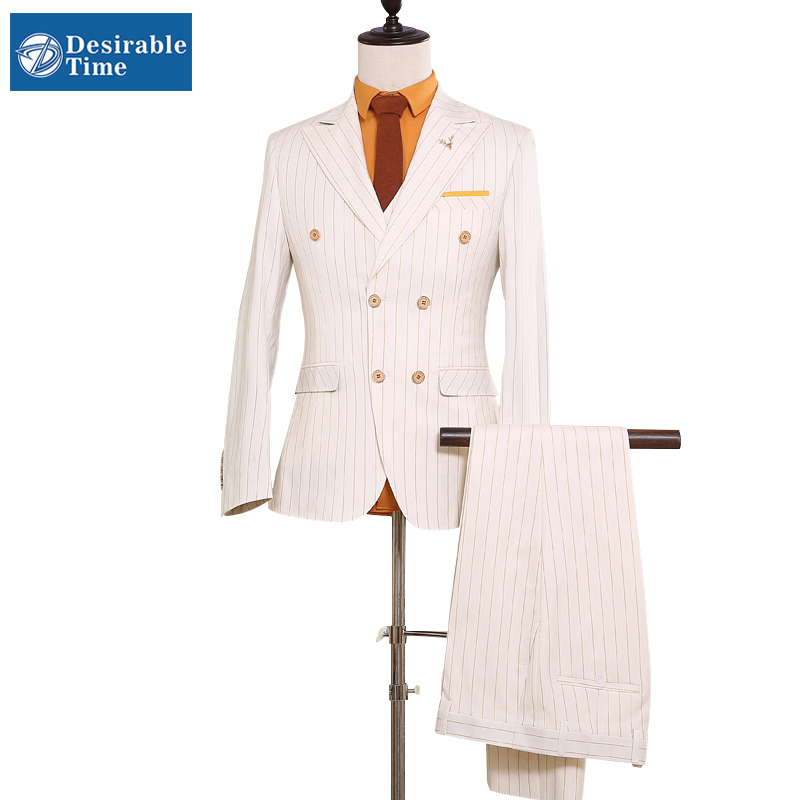 White Double Breasted Slim Fit Suits