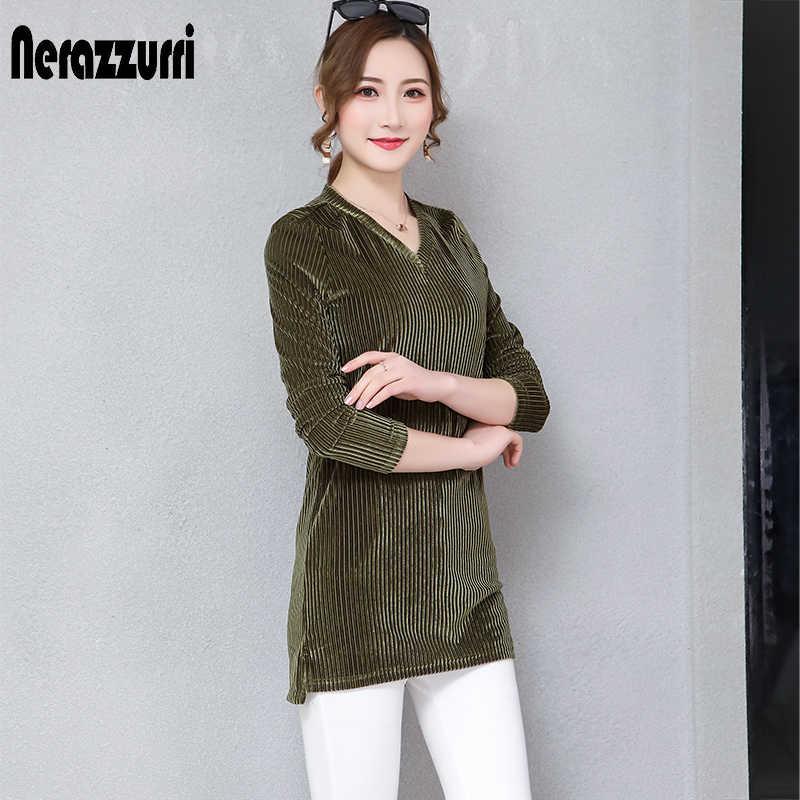 Nerazzurri レディーストップスやブラウスプラスサイズ 5xl 6xl 7xl 長袖 v ブラウス女性 2019 秋のストライプベルベットシャツ