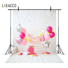 Laeacco Gray Brick Wall Pink Balloons Happy Baby 1st Birthday Party Flower Wooden Floor Photo Backdrops Backgrounds Photo Studio