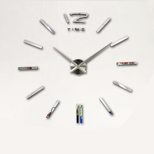2017 digital  Wall Clock fashion 3D wall clock Mirror DIY wall sticker clock needle wall clock modern design free shipping