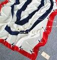 [Ejes Visual] 180*90 cm Bufanda de Seda de la Marca de Lujo de Las Mujeres Chales Nueva Moda Largo Azul y Blanco Avión Pañuelos De Seda Pura chales